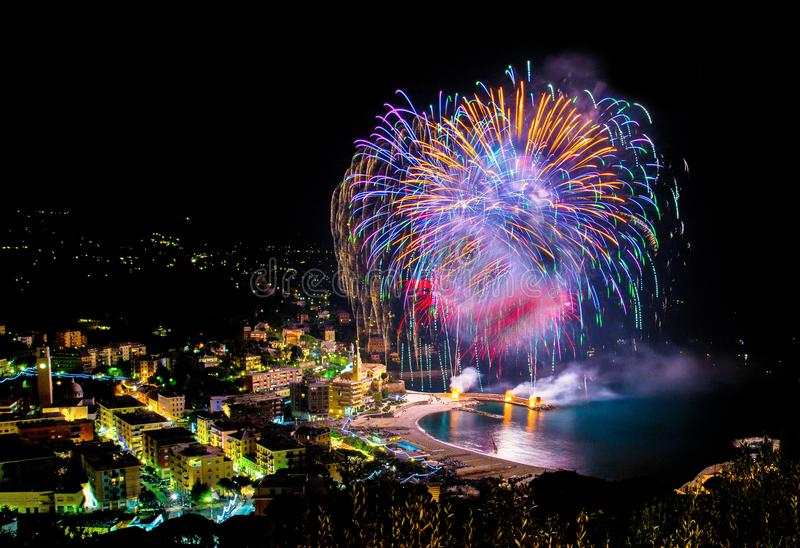 Beautiful and pyrotechnic fireworks in Recco, Italy / Fireworks in Recco, Genoa, Italy. /Europe royalty free stock image