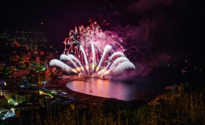 Beautiful and pyrotechnic fireworks in Recco, Italy / Fireworks in Recco, Genoa, Italy. Europe stock photo