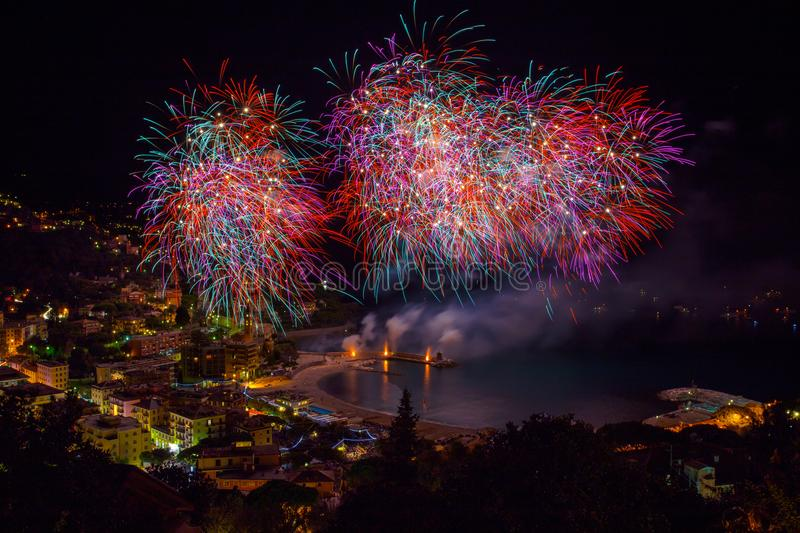 Beautiful and pyrotechnic fireworks in Recco, Italy / Fireworks in Recco, Genoa, Italy. Europe royalty free stock photos