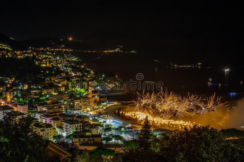 Beautiful and pyrotechnic fireworks in Recco, Italy / Fireworks in Recco, Genoa, Italy. /Europe stock photo