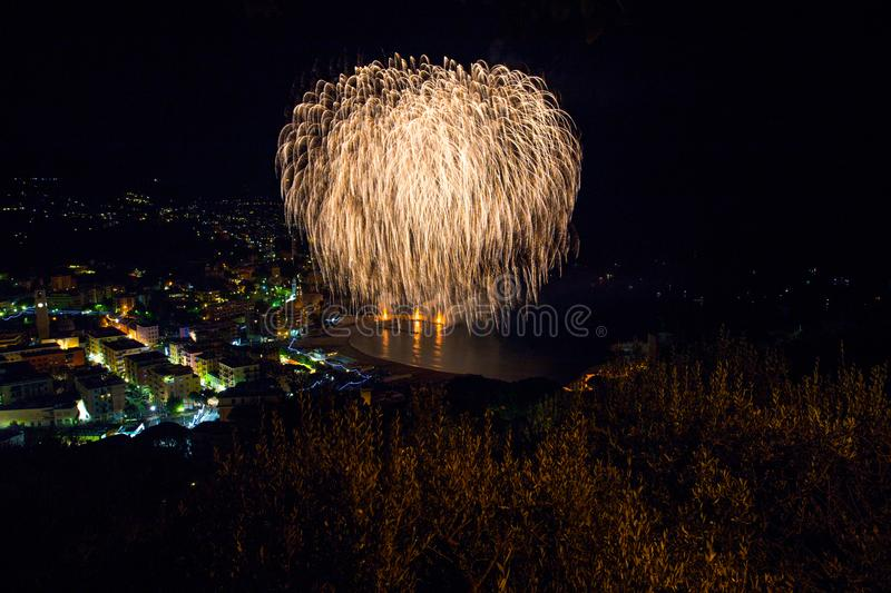 Beautiful and pyrotechnic fireworks in Recco, Italy / Fireworks in Recco, Genoa, Italy. Europe royalty free stock image