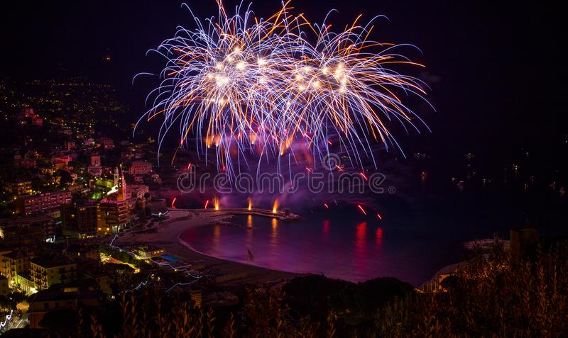 Beautiful and pyrotechnic fireworks in Recco, Italy / Fireworks in Recco, Genoa, Italy. Europe stock image