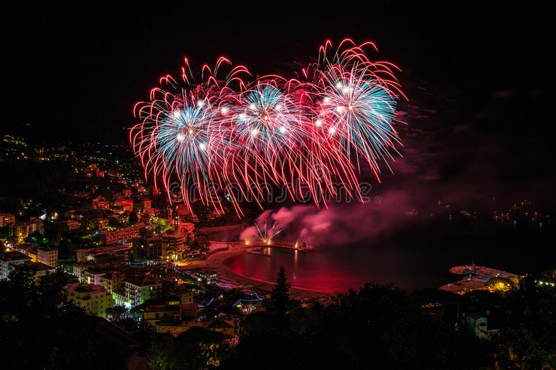 Beautiful and pyrotechnic fireworks in Recco, Italy / Fireworks in Recco, Genoa, Italy. Europe royalty free stock photo