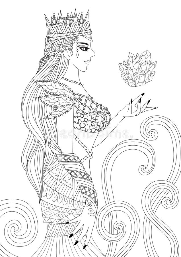 Beautiful queen witch doing black magic for coloring book pages for anti stress and design element for Holloween theme. Vector ill. Ustration stock illustration