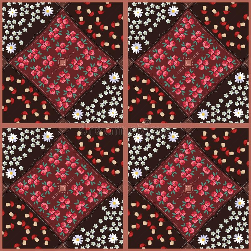 Beautiful quilt with bright floral patterns. Vector illustration.  stock illustration
