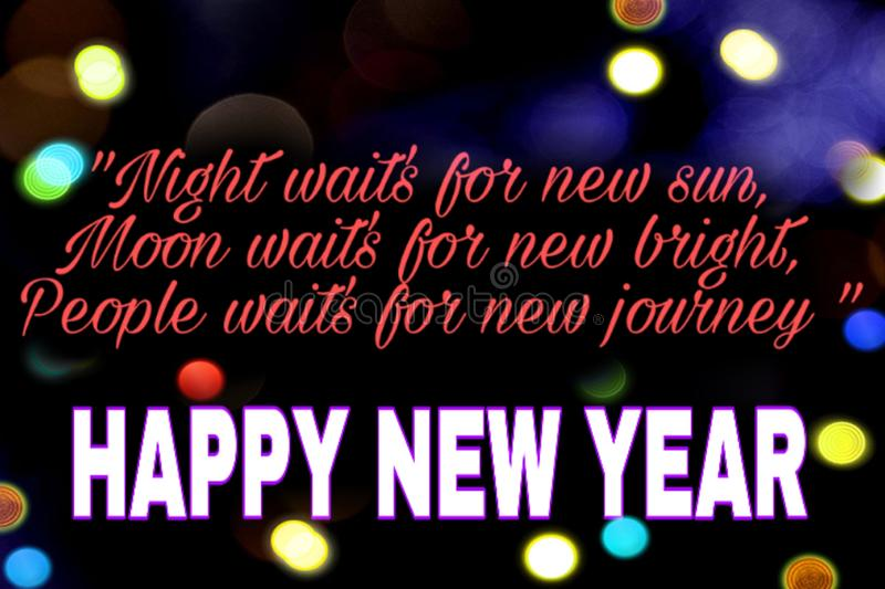Beautiful quote background of happy new year royalty free illustration