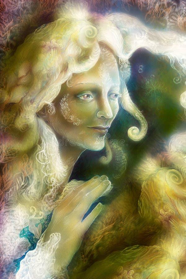 Beautiful radiant elven fairy woman creature stock illustration
