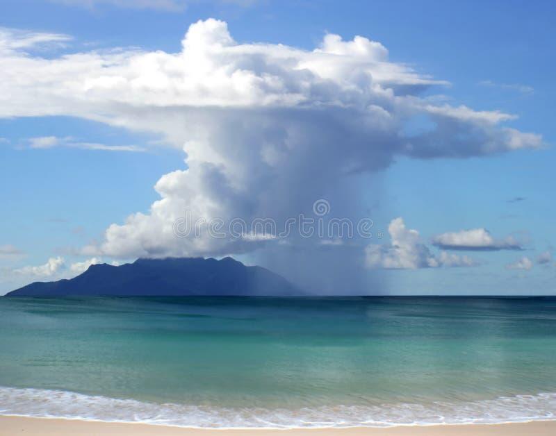 Beautiful rain, clouds, island stock photos