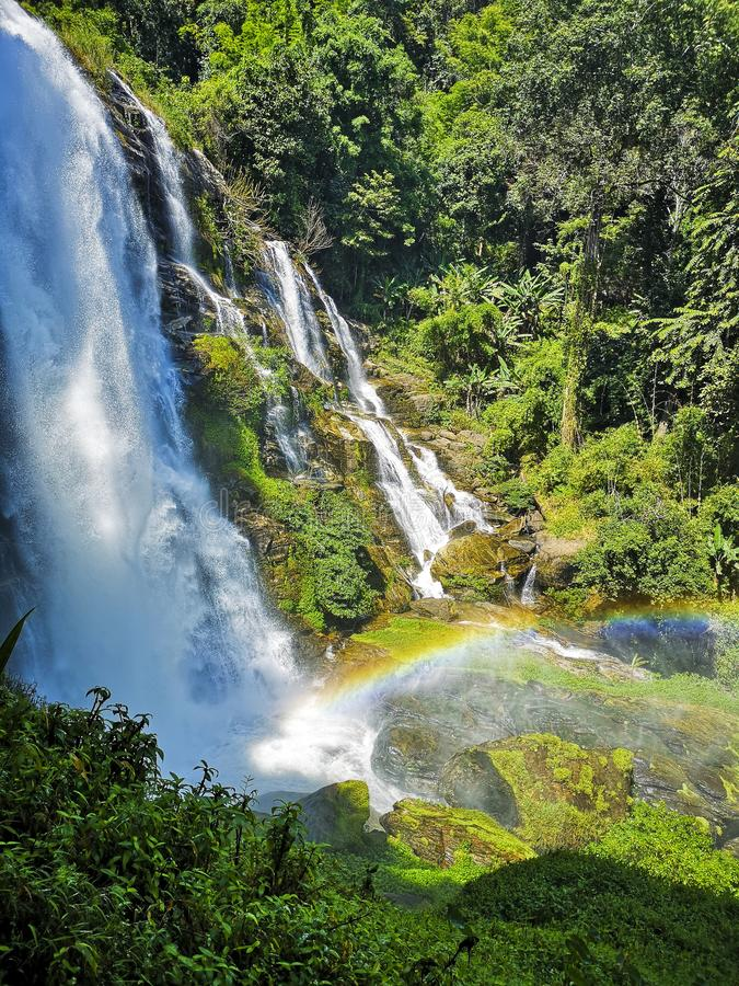 Beautiful Rainbow Falls in Wachirathan - Chiang Mai Thailand. Landscape. Majestic Waterfall with Green Forest stock image