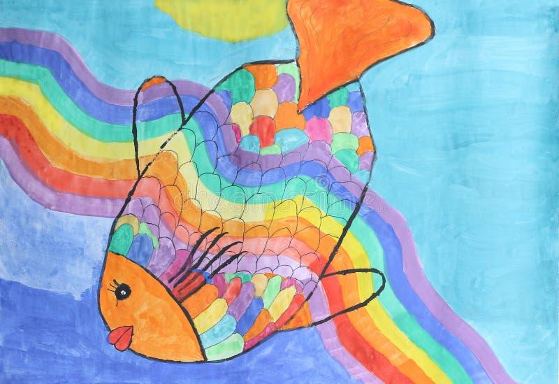 Beautiful rainbow fish - children watercolor painting. In vivid colors royalty free illustration