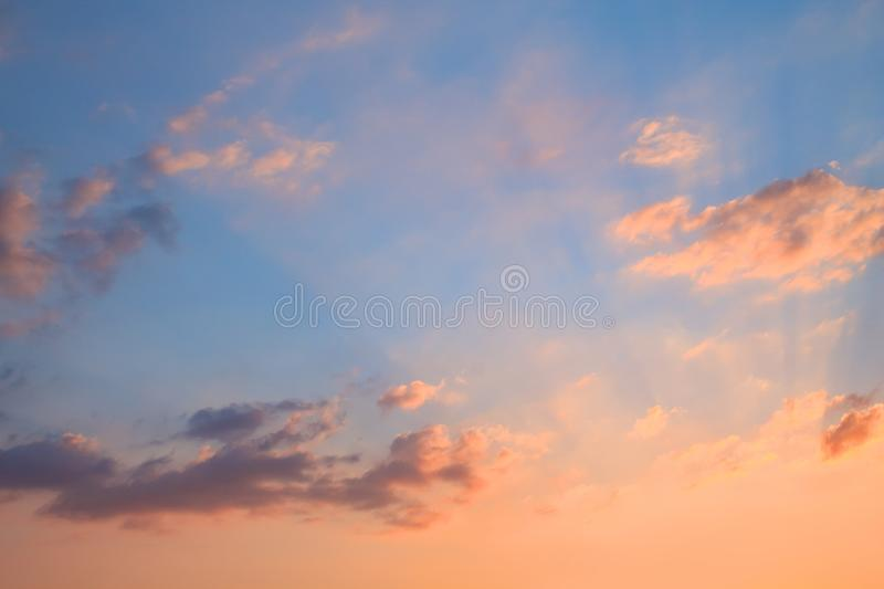 Beautiful rays of the sun during sunset stock photography
