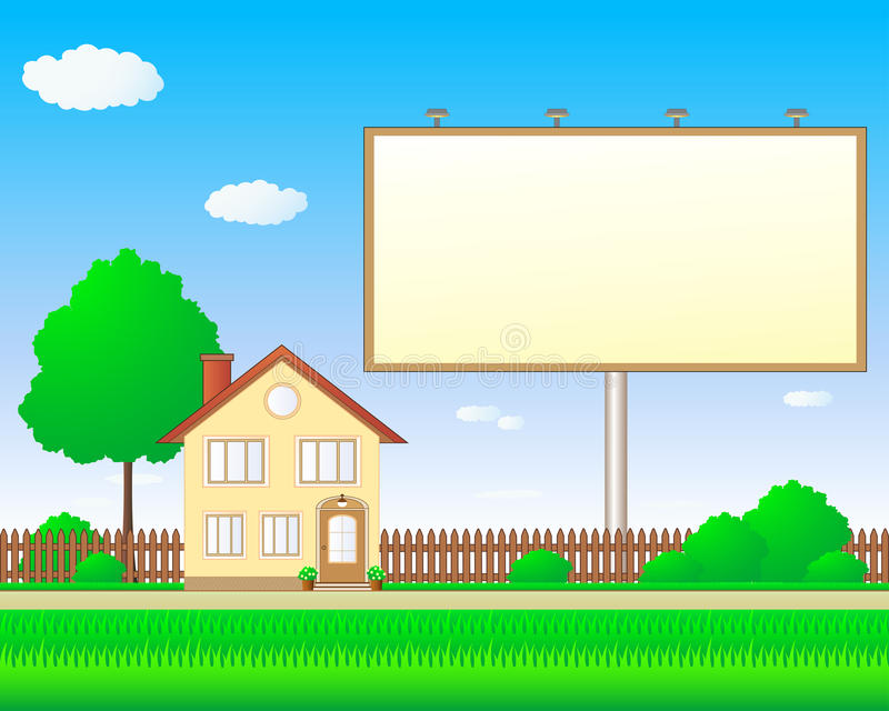 Download Beautiful Real Estate With Billboard Stock Vector - Image: 23542687