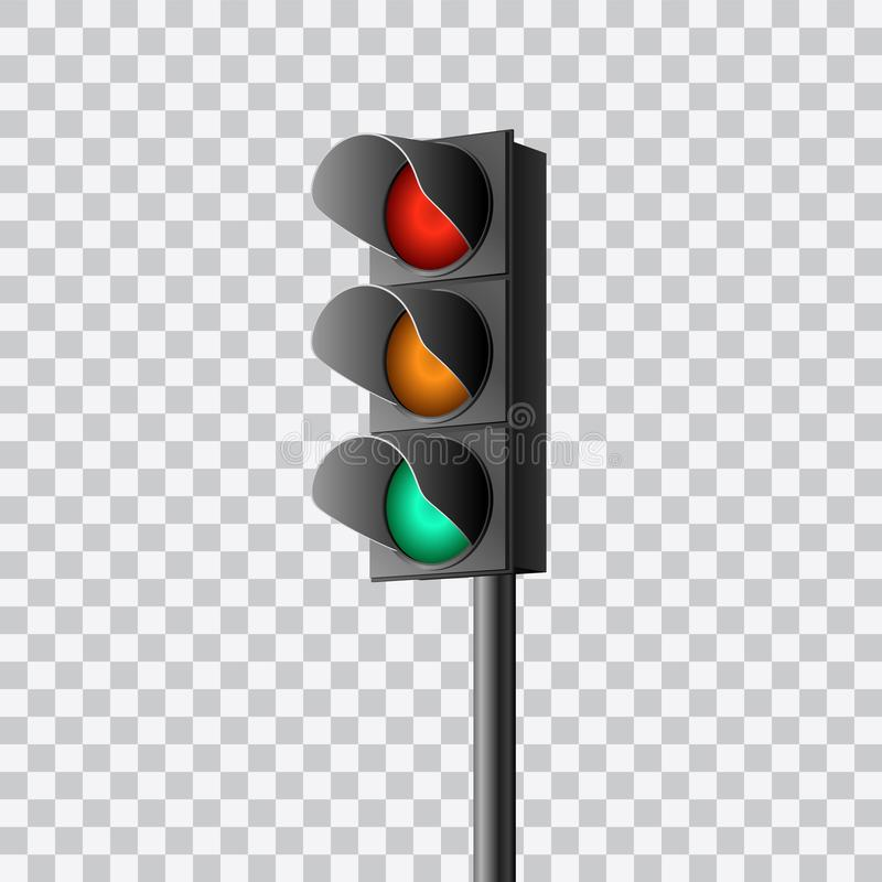 Beautiful realistic colorful perspective view traffic lights vector on transparent background.  stock illustration