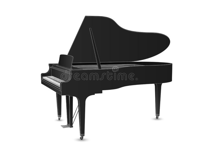 Beautiful realistic detailed grand piano vector in black color with white outlines.  vector illustration