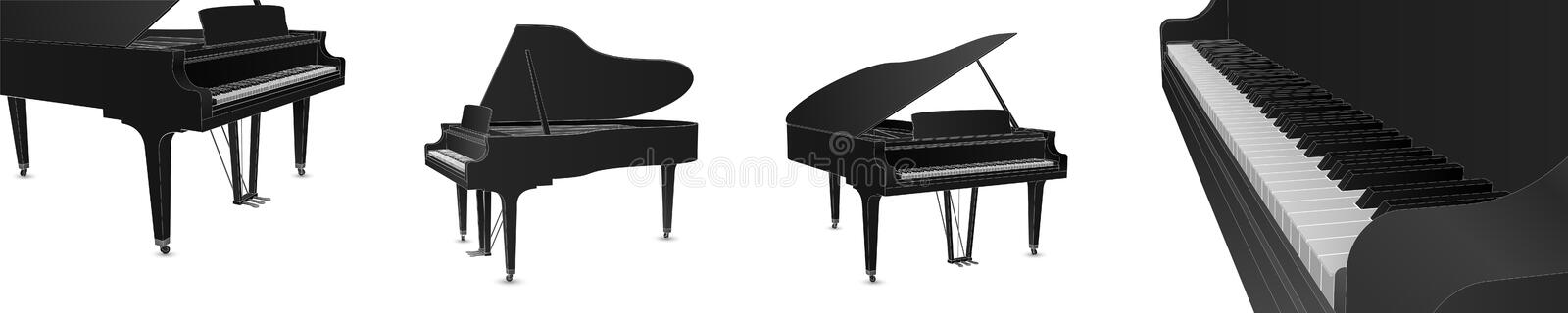 Beautiful realistic detailed grand piano vector set in black color with white outlines.  stock illustration