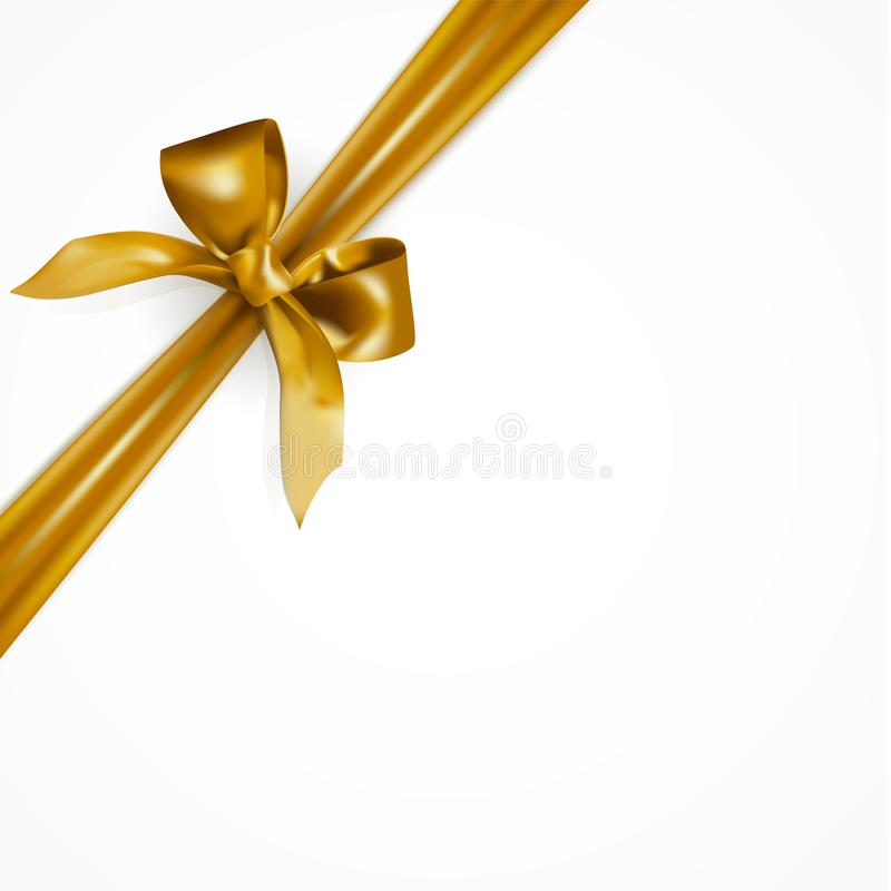Beautiful realistic festive diagonal golden bow or ribbon tied at the corner isolated on white background. stock illustration