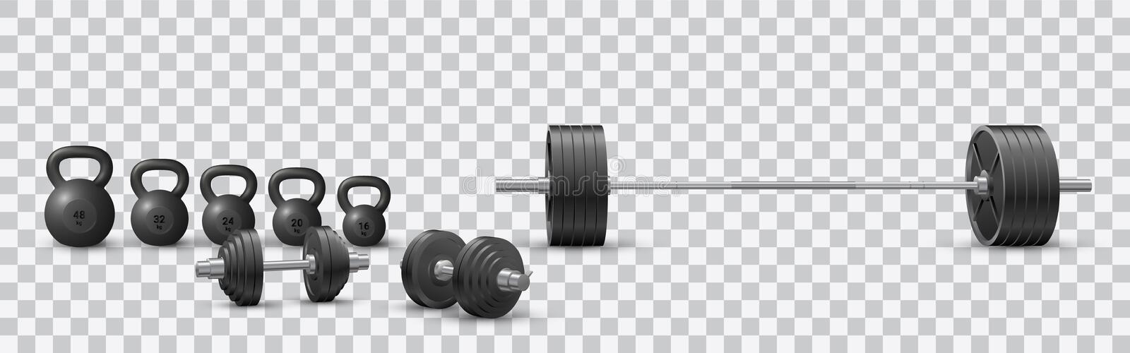 Beautiful realistic fitness vector of an olympic barbell, black iron dumbbels and a set of kettlebells on transparent background royalty free illustration
