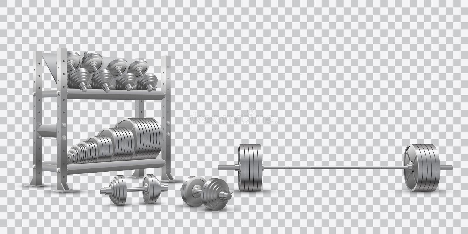 Realistic fitness vector on transparent background of an olympic barbell, steel dumbbels and a storage shelf with barbell plates vector illustration