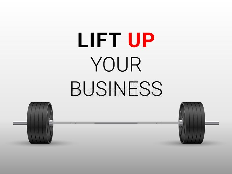 Realistic fitness business metaphor vector of an olympic barbell with black iron plates on white background. Beautiful realistic front view fitness business stock illustration