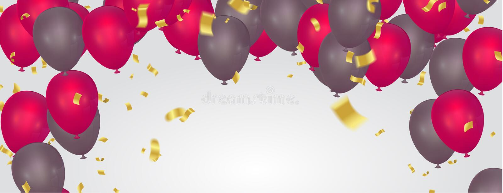 Beautiful realistic party balloons happy birthday vector greeting card . You are invited to a party royalty free illustration