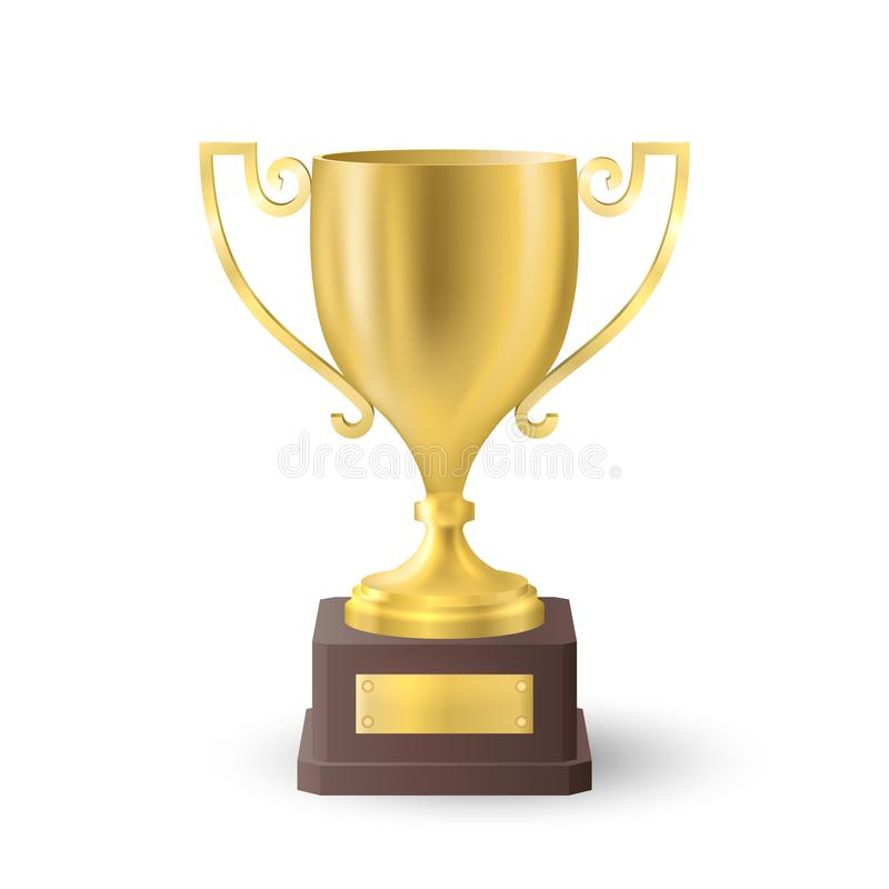 Beautiful realistic perspective front view vector of golden trophy cup.  vector illustration