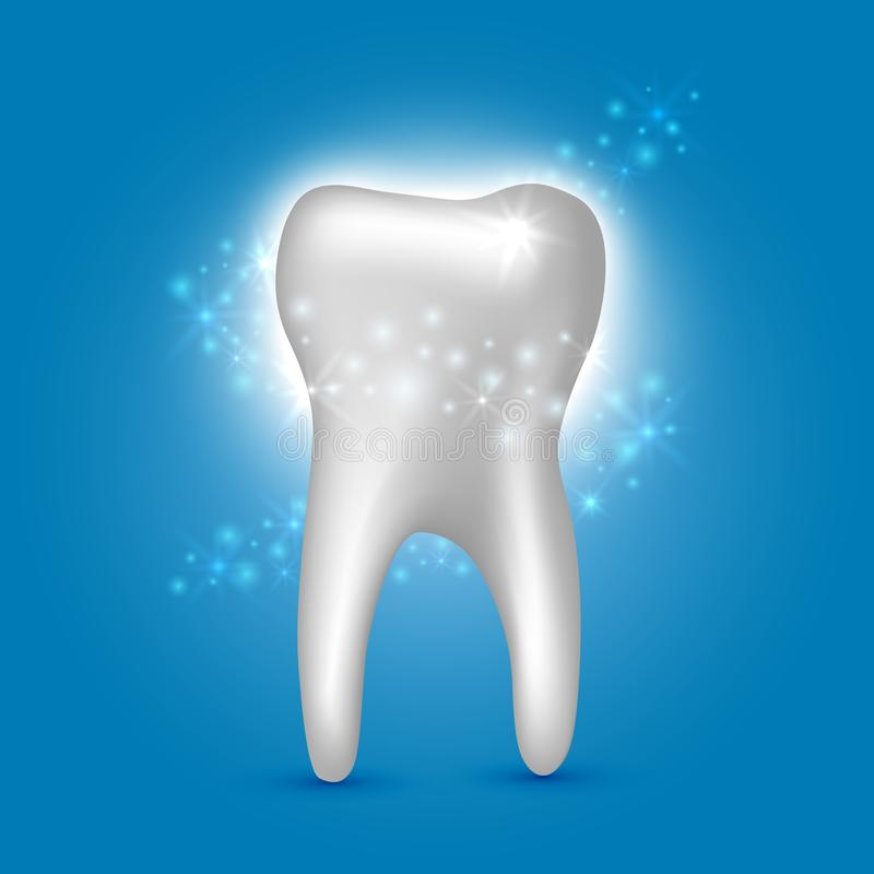 Beautiful realistic shiny white tooth cleansing dentist vector on blue background.  vector illustration