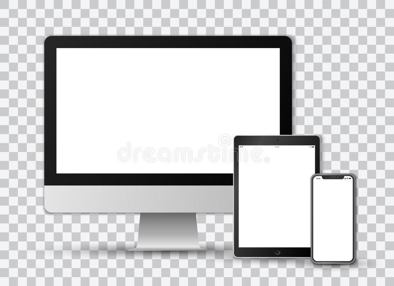 Realistic vector set on transparent background of a modern smartphone, a tablet and a computer screen with white screens vector illustration
