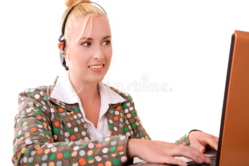 Beautiful receptionist royalty free stock photos