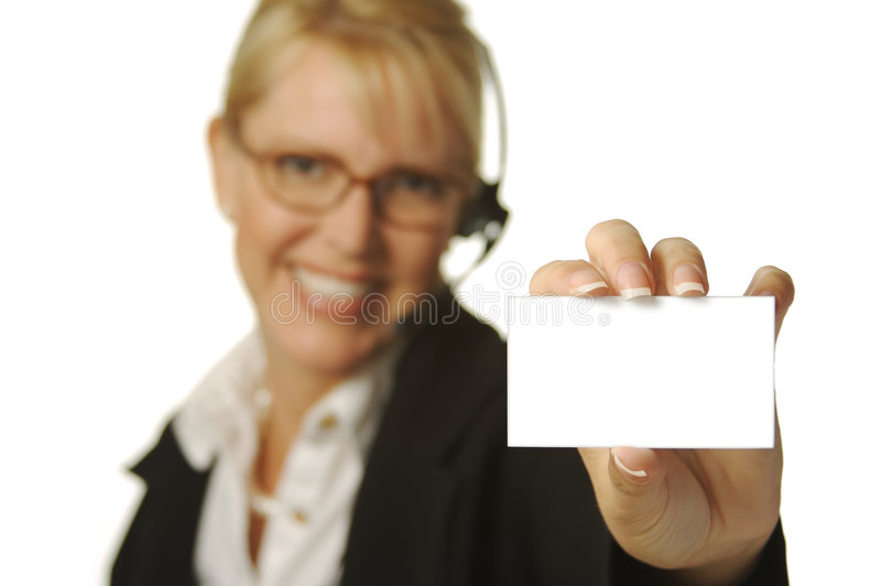 Beautiful Receptionist & Card royalty free stock images