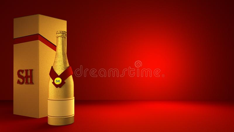 Beautiful red background with golden champagne bottle and packaging in the studio 库存例证