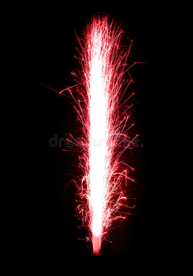 Beautiful Red birthday fireworks stock image