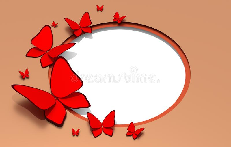 Beautiful red butterflies on light background with white copy space seasonal 3D illustration. Beautiful bright red butterflies on light background with white royalty free illustration