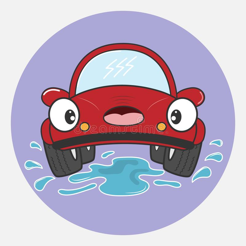 Beautiful red car cartoon character. Vector illustration. stock photo