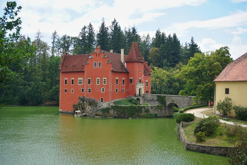 Beautiful red castle Cervena Lhota in the Czech Republic looking like from fairy tale royalty free stock photography