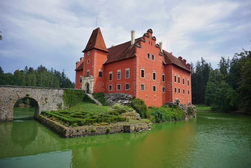 Beautiful red castle Cervena Lhota in the Czech Republic looking like from fairy tale stock images