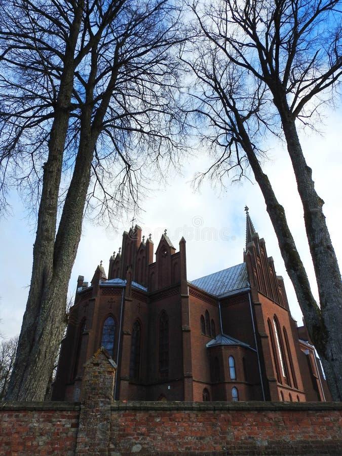Beautiful red catholic church, Lithuania stock image