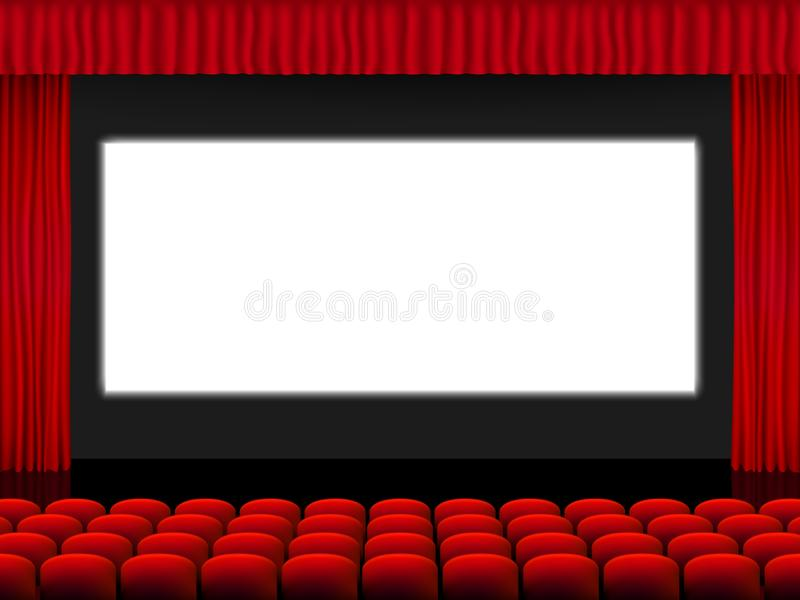 Beautiful red cinema hall with seats facing a white screen between red folded curtain drapes on a black stage vector vector illustration