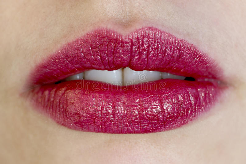 Beautiful red female lips stock photos