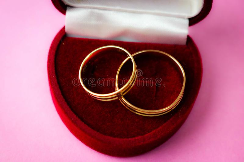 A beautiful red festive gift box velvet for two engagement, wedding rings with precious gold round precious pile rings. stock image
