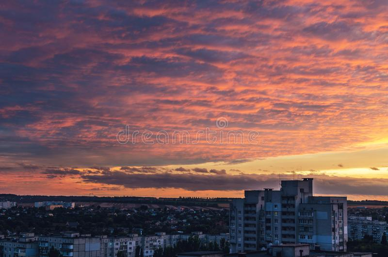 Beautiful red fiery sunset over the city, cityscape.  stock image