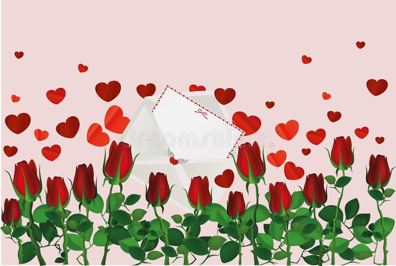 Beautiful red flowers. Roses with envelope and hearts. Empty space stock illustration