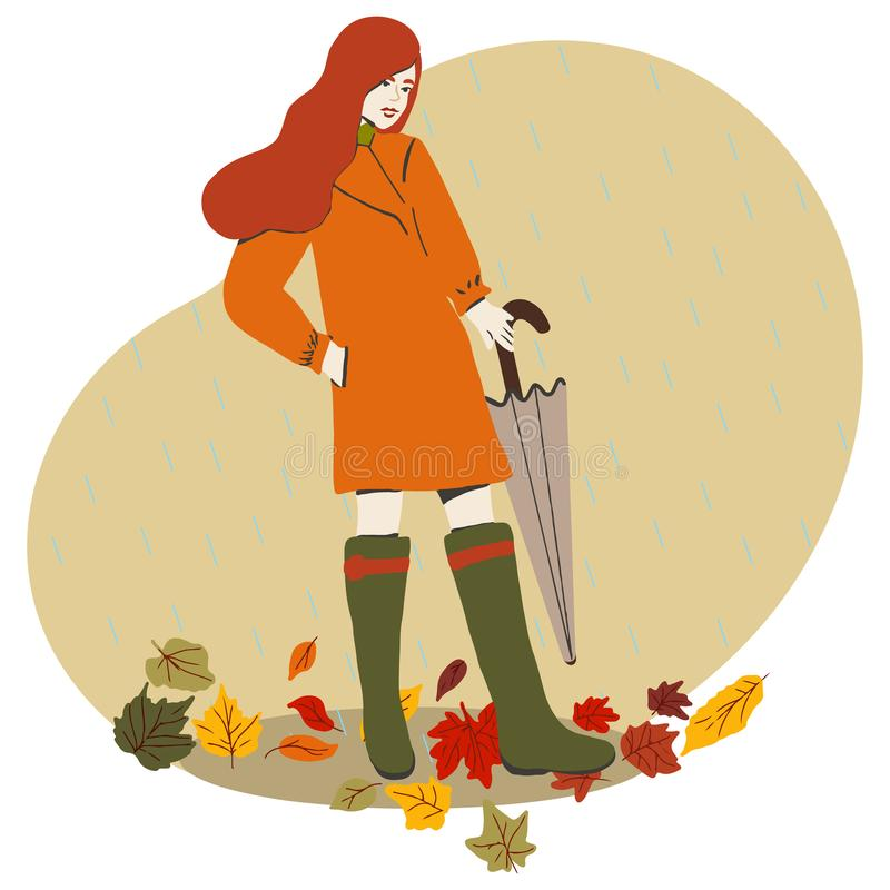 Beautiful red hair girl with umbrella stock illustration