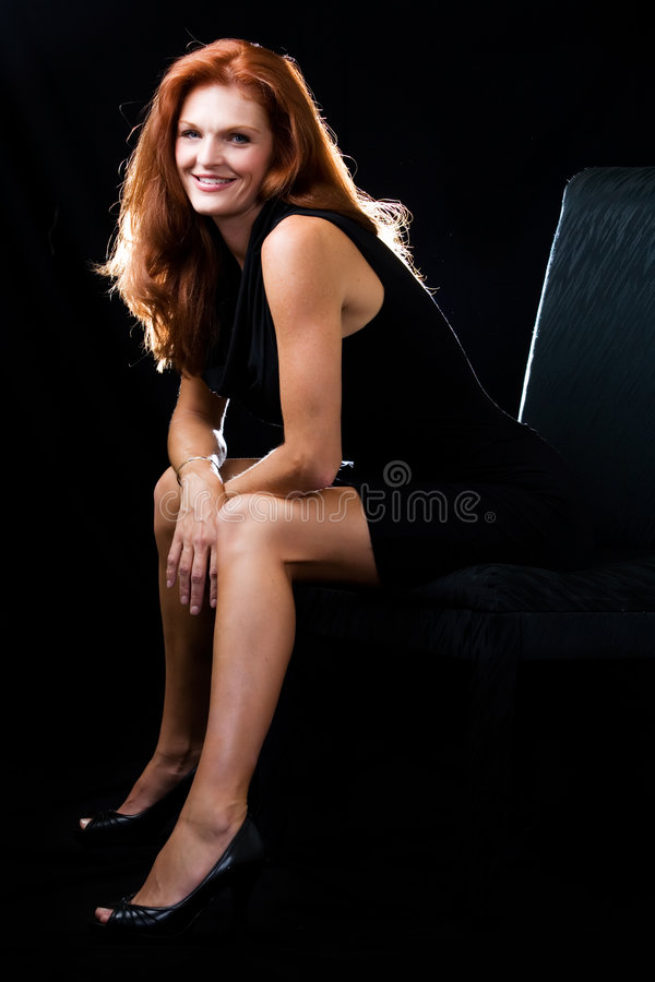 Beautiful red hair woman stock photo