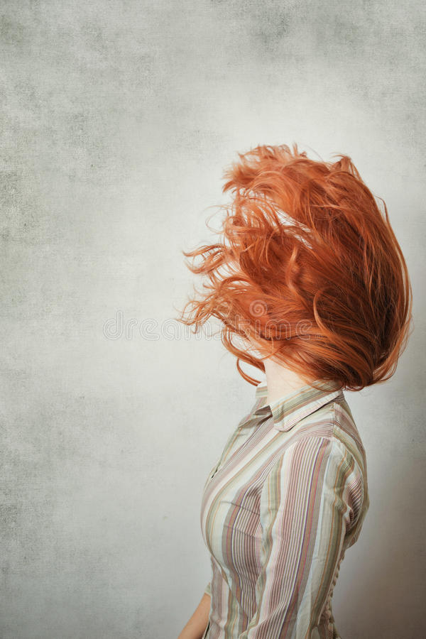 Beautiful red hair woman stock photos