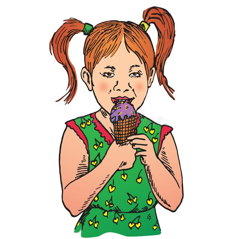 Beautiful red haired baby girl eating ice cream in a waffle cup stock illustration