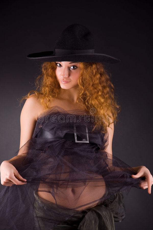 Download Beautiful Red-haired Girl In Hat Stock Image - Image: 8096383
