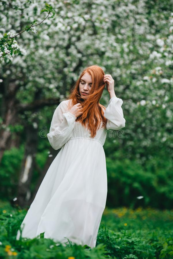 Beautiful red-haired girl in a white dress among blossoming apple-trees in the garden royalty free stock photo