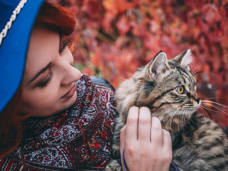 Beautiful red-haired woman in blue hat and leather jacket walking with cat in autumn red park. stock images