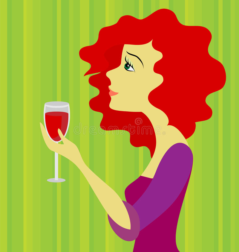 Free Beautiful Red-haired Woman With A Wine Glass Stock Photography - 18003202