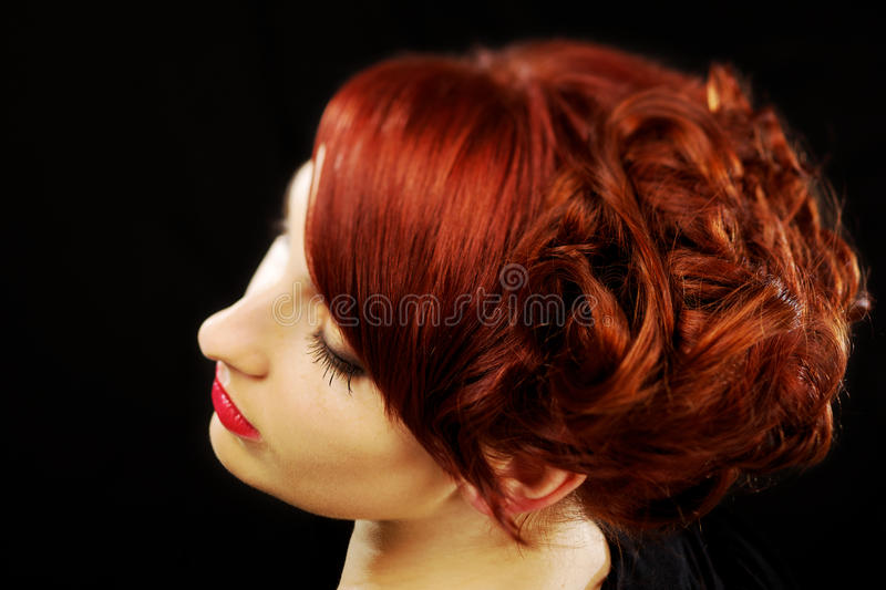 Beautiful red hairstyle royalty free stock image